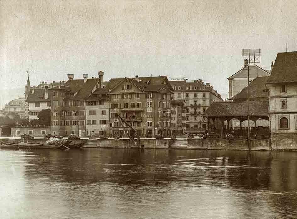 Grosser Spinnhof, Helferei und das Kornhaus im Kratzquartier 1887