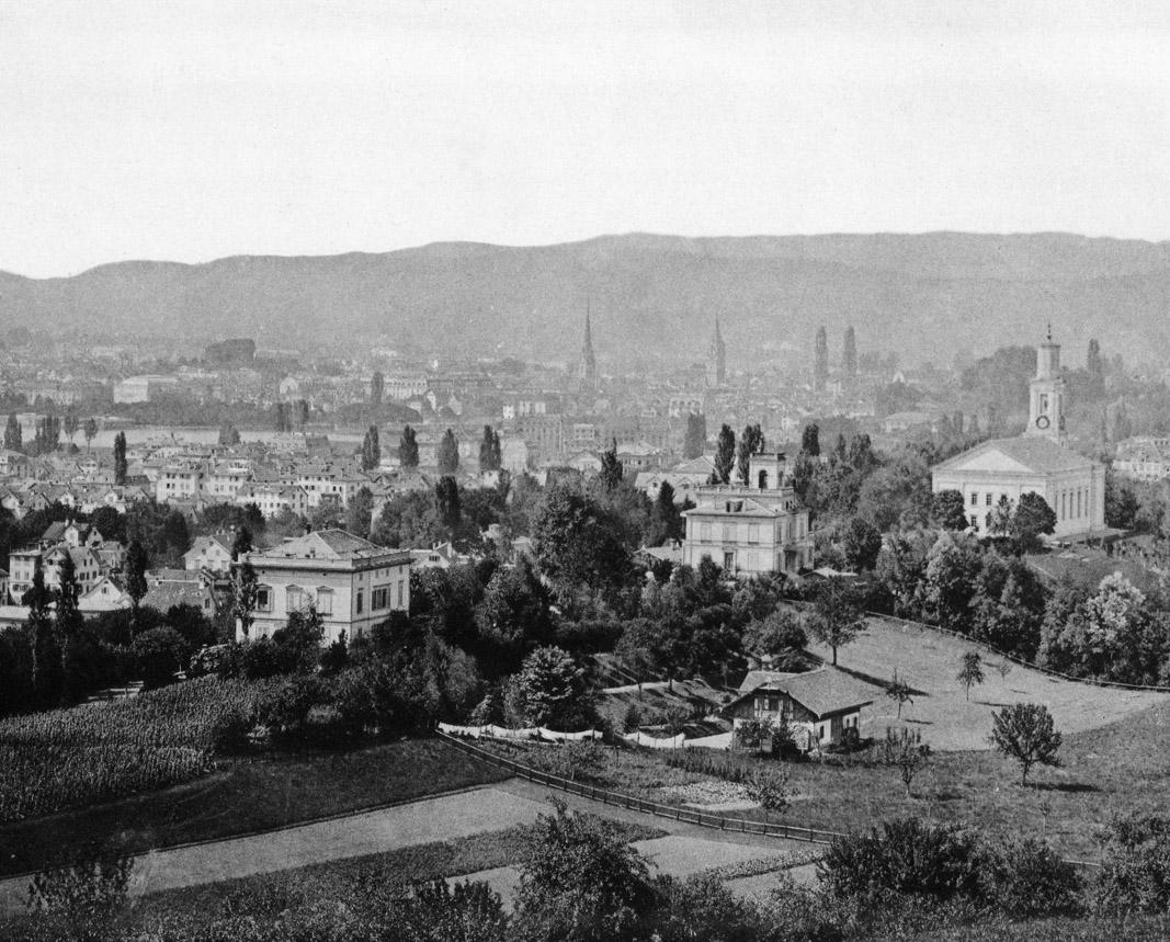 Blick von der Stephansburg auf das Seefeld um 1889
